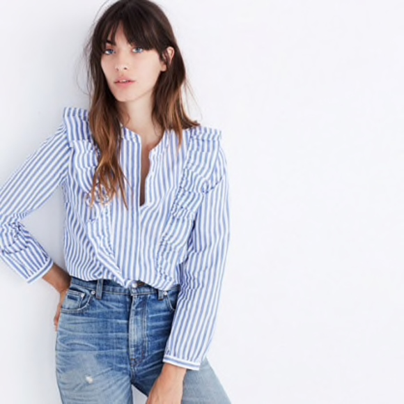 23dc68725b905d Madewell Tops | Blue And White Striped Ruffle Top | Poshmark